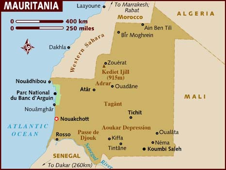 map of mauritania